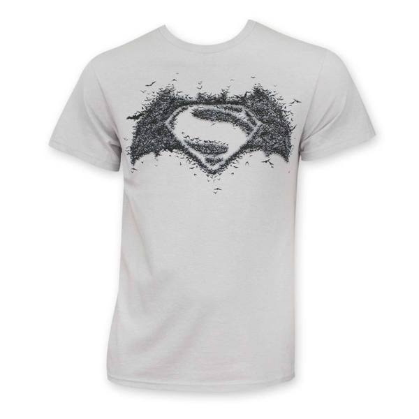 Adult Grey Cotton Batman V Superman Logo T-shirt