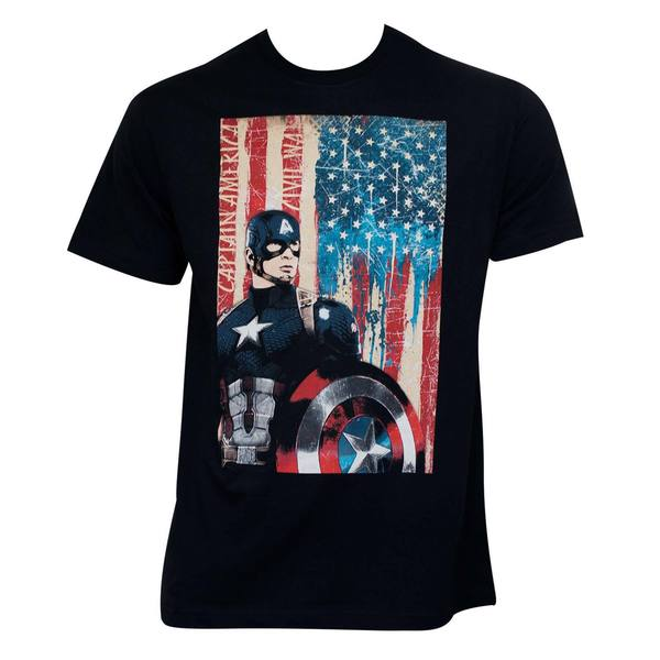 Captain America Civil War Patriotic Black T-shirt