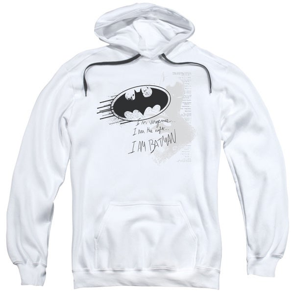 Adult White Batman/I Am Vengeance Pullover Hoodie