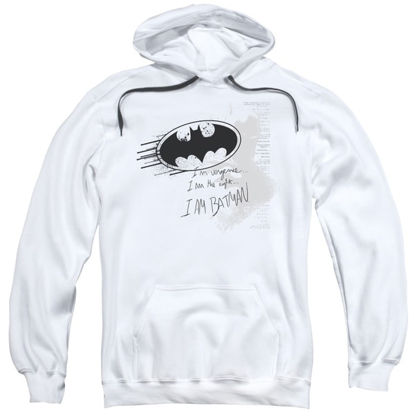 Adult White Batman/I Am Vengeance Pullover Hoodie