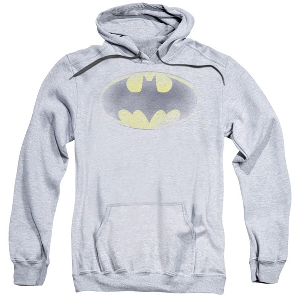Adult's Athletic Heather Grey Cotton/Polyester Batman/Faded Logo Pull-over Hoodie
