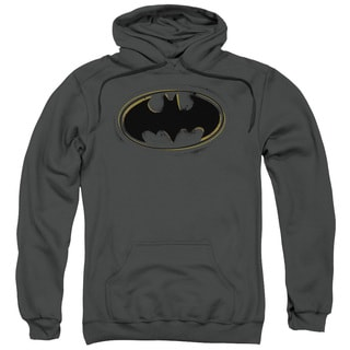 Adult's Charcoal Grey Cotton/Polyester Batman/Spray Paint Logo Pull-over Hoodie