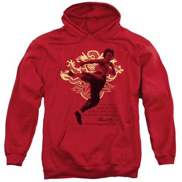 Bruce Lee/Immortal Dragon Adult Pull-over Hoodie in Red