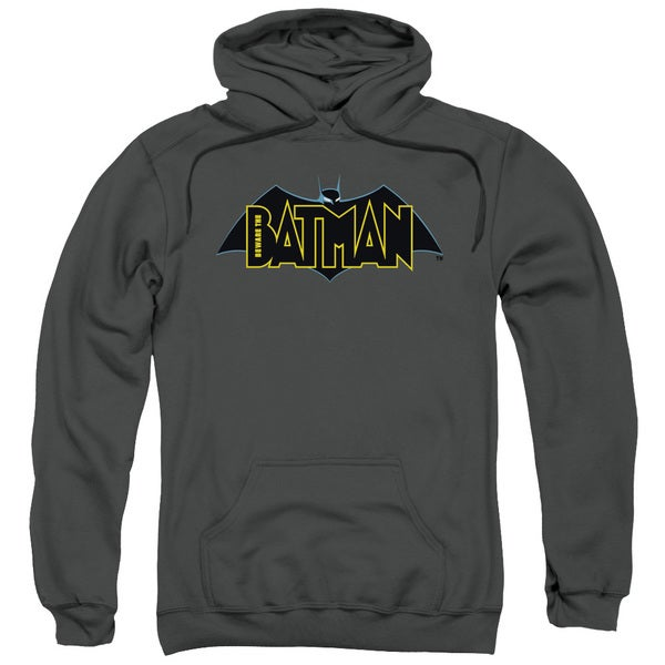 Beware The Batman/Logo Charcoal Grey Adult Pullover Hoodie