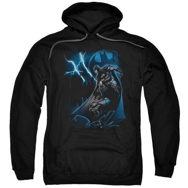 Batman/Lightning Strikes Black Adult Pullover Hoodie