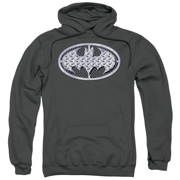 Batman Adult Steel Mesh Shield Charcoal Cotton/Polyester Pullover Hoodie