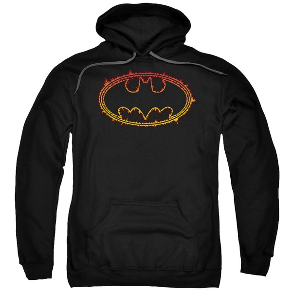 Adult's Black Cotton/Polyester Batman/Flame Outlined Logo Pull-over Hoodie 18647389