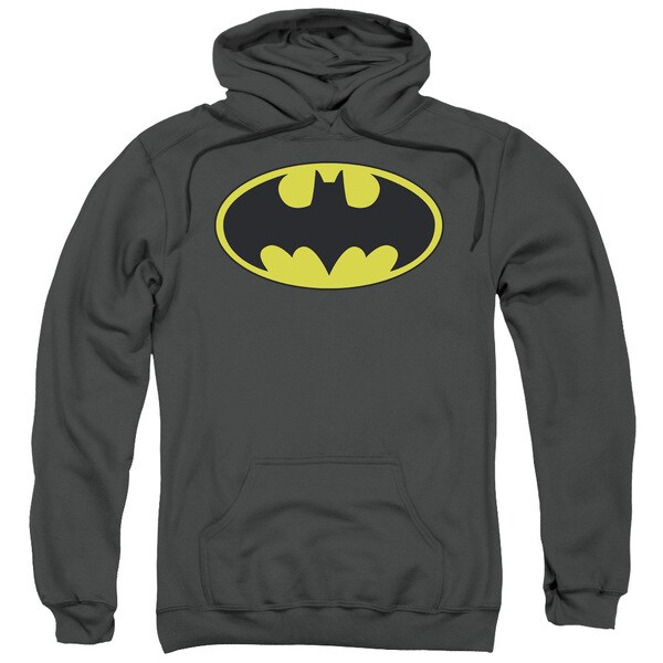 Adult's Charcoal Grey Cotton/Polyester Batman/Classic Bat Logo Pull-over Hoodie