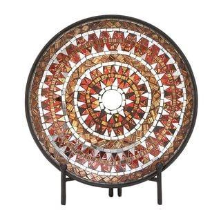 Striking Metal Mosaic Red Platter With Easel