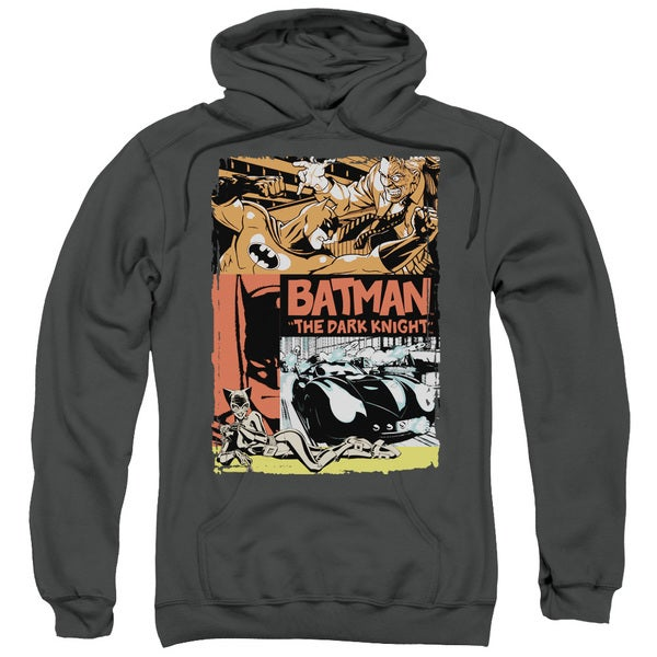 Batman/Old Movie Poster Adult Charcoal Grey Pull-Over Hoodie
