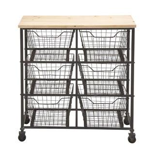 Unique Styled Fancy Metal Wood Storage Cart