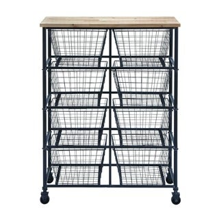 Metal Wood Storage Mobile Cart With 41 inches high x 29 inches