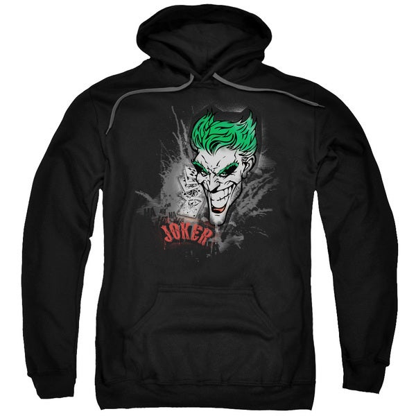 Batman Joker Sprays The City Adult Black Cotton/Polyester Pullover Hoodie