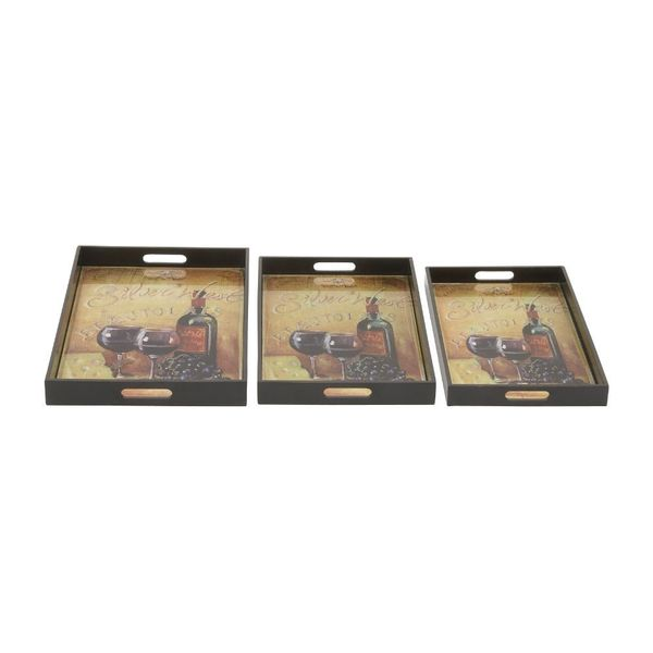 Stylishly Durable Wood Glass Tray (Set Of 3) 18649203