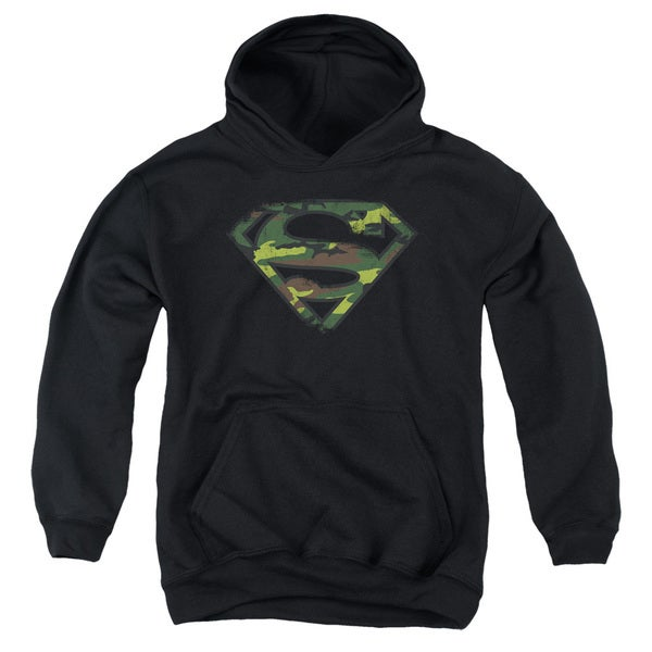 Superman Distressed Camo Shield Youth Black Cotton/Polyester Pullover Hoodie