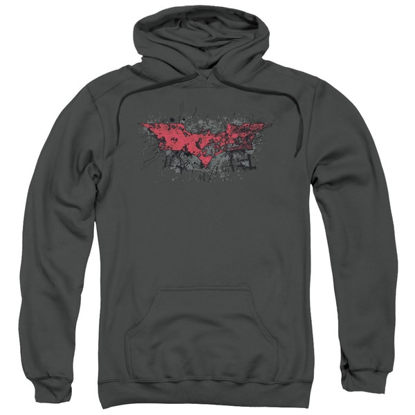Dark Knight Rises/Fear Logo Adult Pullover Hoodie in Charcoal