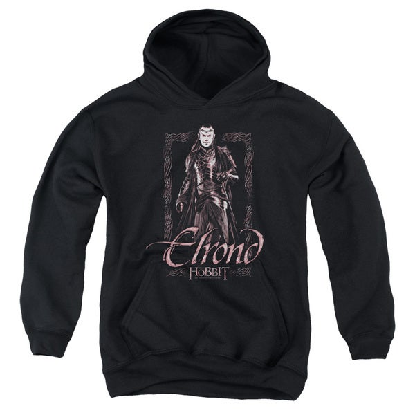 The Hobbit Elrond Stare Youth Black Pull-Over Hoodie