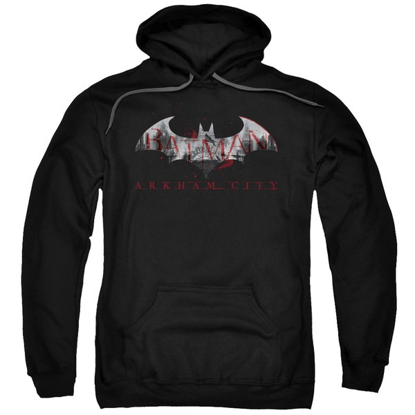Arkham City/Bat Fill Adult Pullover Hoodie in Black