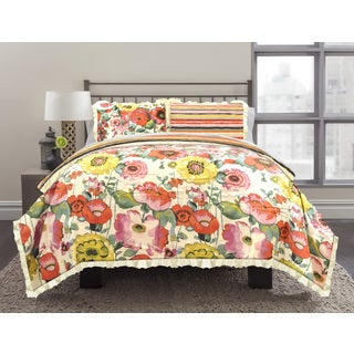 Watercolor Floral 3-piece Comforter Set