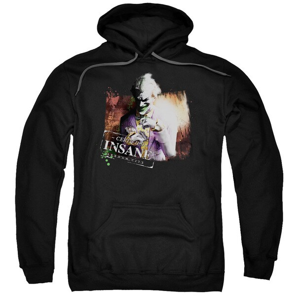 Arkham City/Certified Insane Adult Pull-Over Hoodie in Black