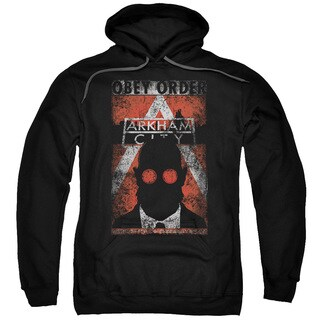 Arkham City/Obey Order Poster Adult Pull-over Hoodie in Black
