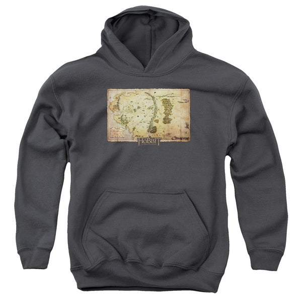 The Hobbit/Middle Earth Map Youth Charcoal Pull-over Hoodie