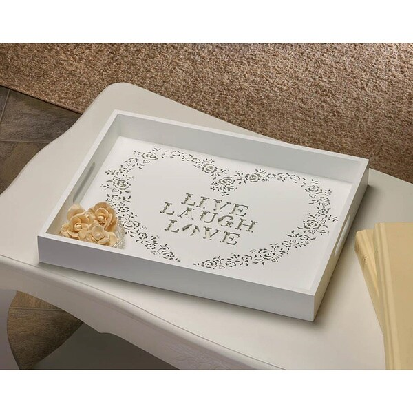 'Live, Laugh, Love' Lovely White Wooden Tray 18652523