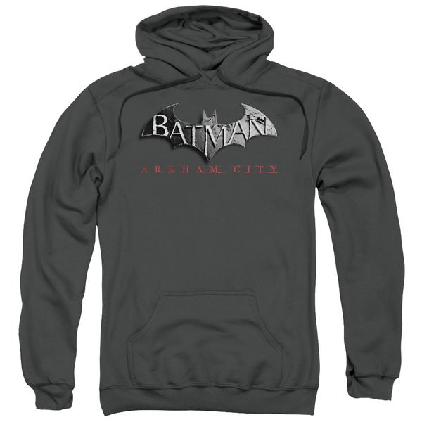 Arkham City Adult Batman Logo Charcoal Polyester/Cotton Pullover Hoodie