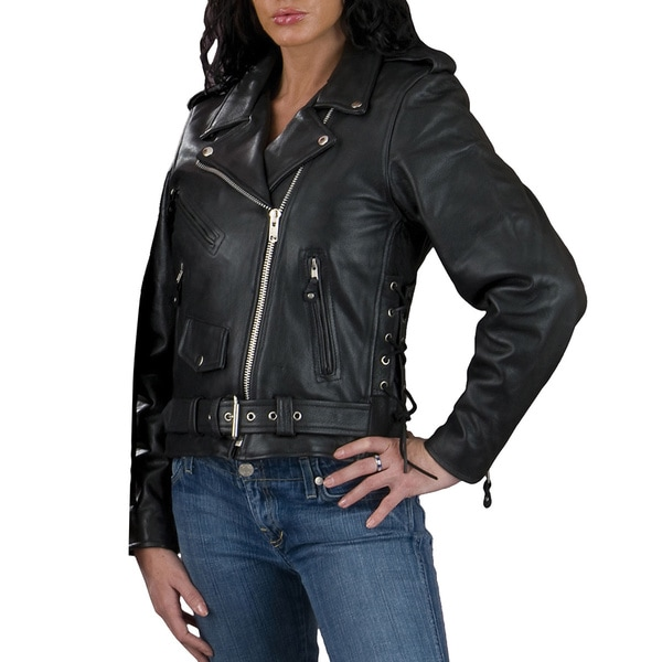 Women's Full Black Leather Motorcycle Jacket 18652868