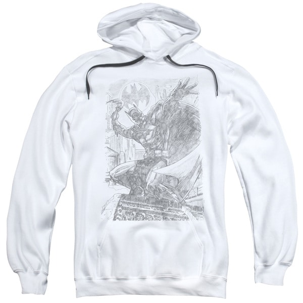 Adult Batman Pencil Sketch White Pullover Hoodie