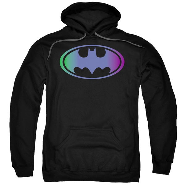 Batman Adult Gradient Bat Logo Black Cotton/Polyester Pullover Hoodie