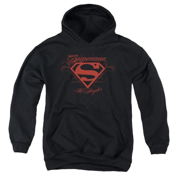 Superman Black Youth Pullover Hoodie