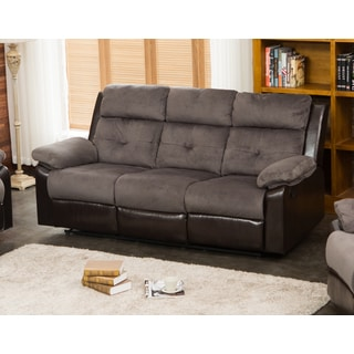 Stanford Grey/Chocolate Microfiber/PU/Wood Reclining Living Room Sofa
