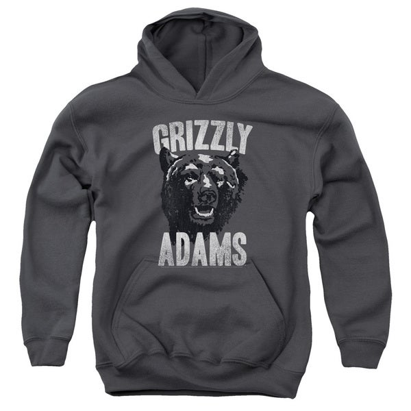 Grizzly Adams/Retro Bear Youth Pull-Over Hoodie in Charcoal