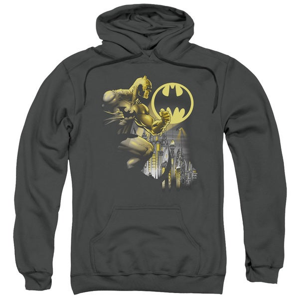Adult Batman/Bat Signal Charcoal Pullover Hoodie