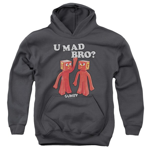 Gumby/U Mad Bro Charcoal Grey Youth Pullover Hoodie