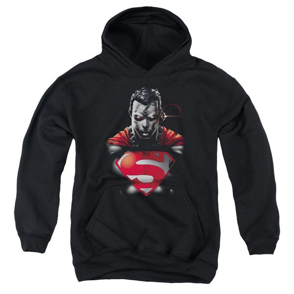 Superman/Heat Vision Charged Youth Pull-Over Hoodie in Black
