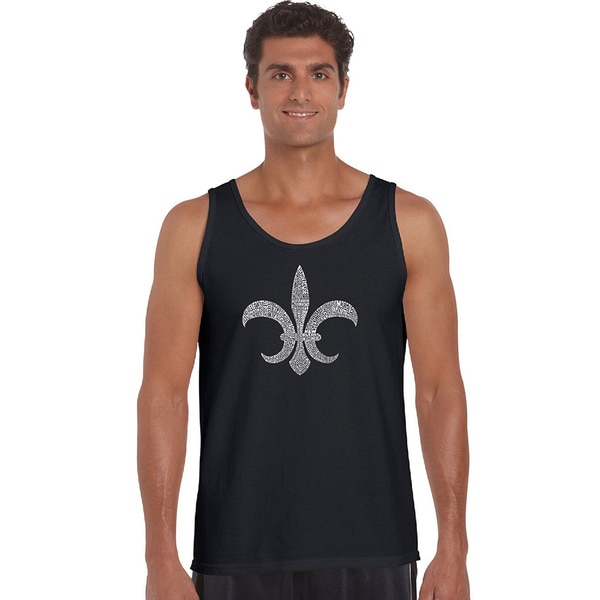 Men's 'Popular Louisiana Cities' Solid-colored Cotton Fleur De Lis Tank Top
