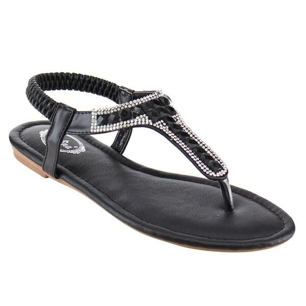 Italina Df5281 Rhinestone Deco Open Toe Flat Thong Sandal