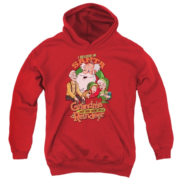 Grandma Got Run Over by a Reindeer/I Believe Youth Red Pull-over Hoodie
