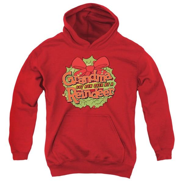 Grandma Got Run Over By A Reindeer/Grandma Logo Youth Pull-Over Hoodie in Red