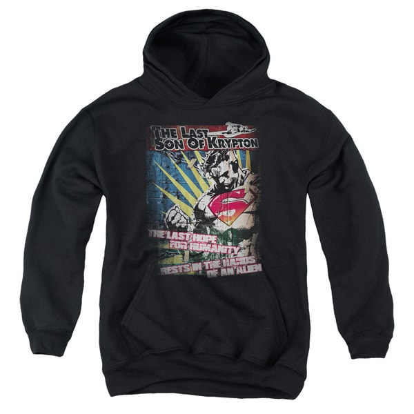 Superman/Last Hope Youth Pull-Over Hoodie in Black