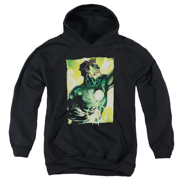 Green Lantern 'Up Up' Black Cotton-blended Youth Pullover Hoodie