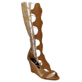 Beston Women's Knee High Gladiator Sandals