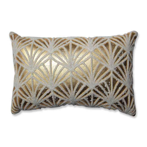 Pillow Perfect Glamour Flock Gold-White Rectangular Throw Pillow