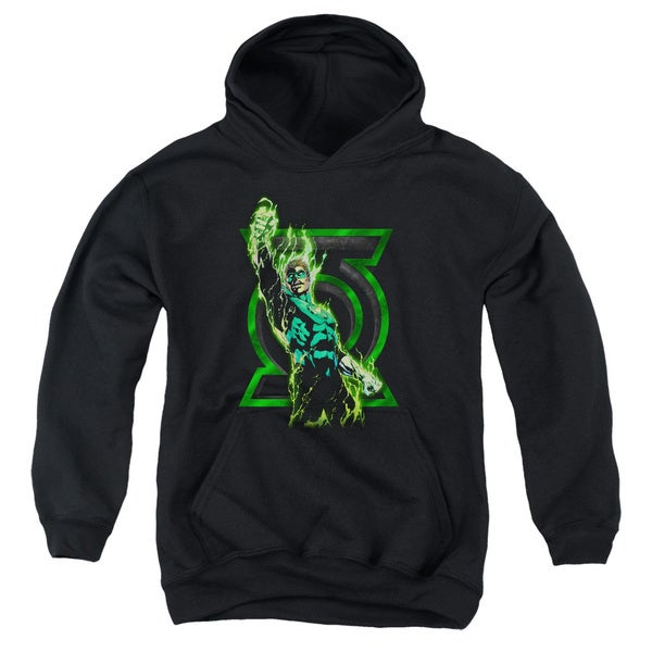 Green Lantern/Fully Charged Youth Pullover Hoodie in Black