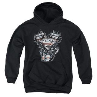 Youth Black Superman Logo Pullover Hoodie