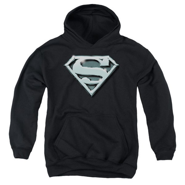 Superman/Chrome Shield Youth Pull-Over Hoodie in Black