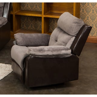 Stanford Brown/Grey Microfiber/Faux Leather Reclining Living Room Chair