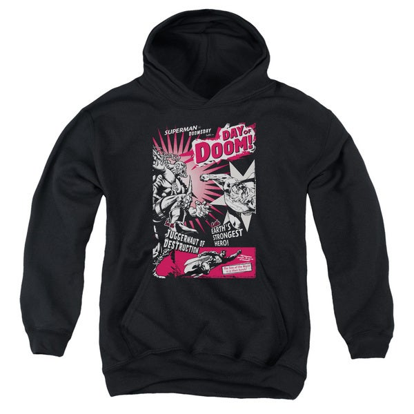 Superman Youth 'Day Of Doom' Black Cotton/Polyester Pullover Hoodie 18657973